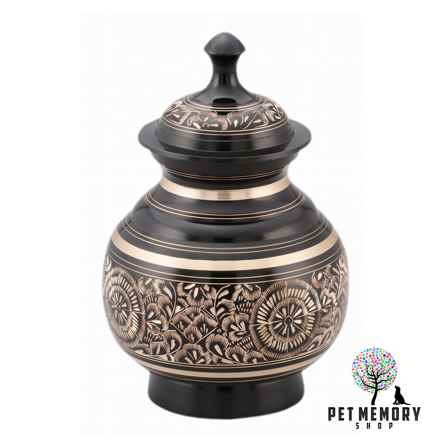Pet Memory Shop Urn for Pets - Hand-Engraved w/Free Velvet URN Bag - Choose from 2 Styles - for Dogs, Cats, Other Animals ... (Black)