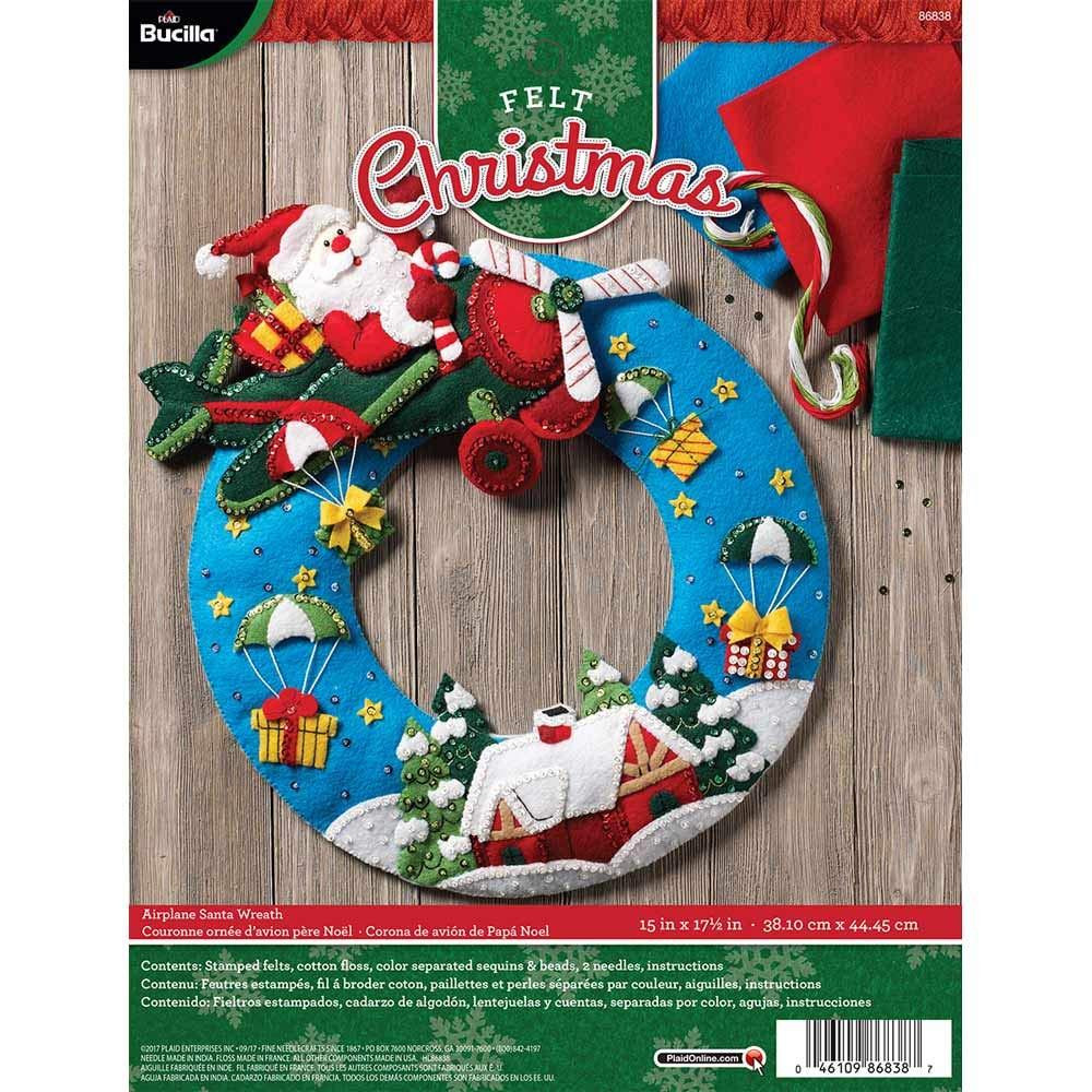 Bucilla 86838 Felt Wreath Kit,  13.5' x 17', Airplane Santa
