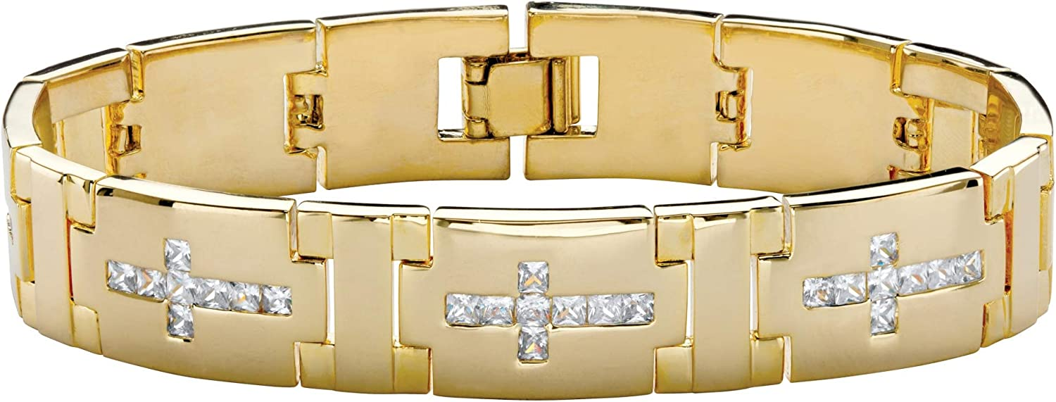 Palm Beach Jewelry Men's 14K Yellow Gold Plated Square Cut Cubic Zirconia, Cross Link Bracelet (14mm), Fold Over Clasp, 8 inches