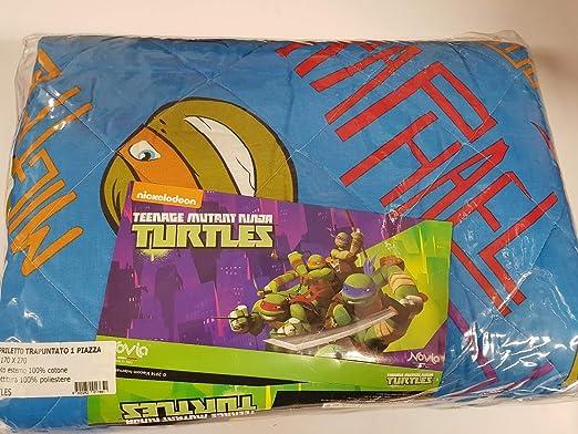 Novia trapuntina una plaza Ninja Turtles Azul: Amazon.es: Hogar
