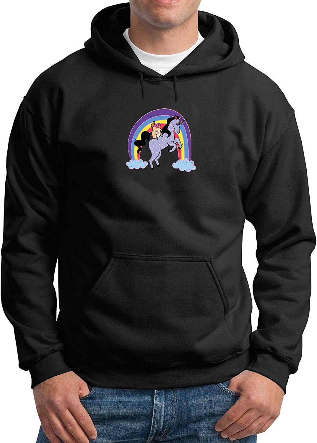 Magical Unicorn and Pug Rainbow/_MA3435 Hoodie Hoody Sweater Black