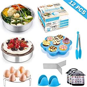 12Pcs Instant Pot Accessory Set, P&P CHEF Pressure Cooker Accessories Kit Fit 6/8 Qt Electric Pressure Cooker - Steamer Basket, Cake Pan, Egg Rack, Egg Bites Mold and More Kitchen Tools (Blue)