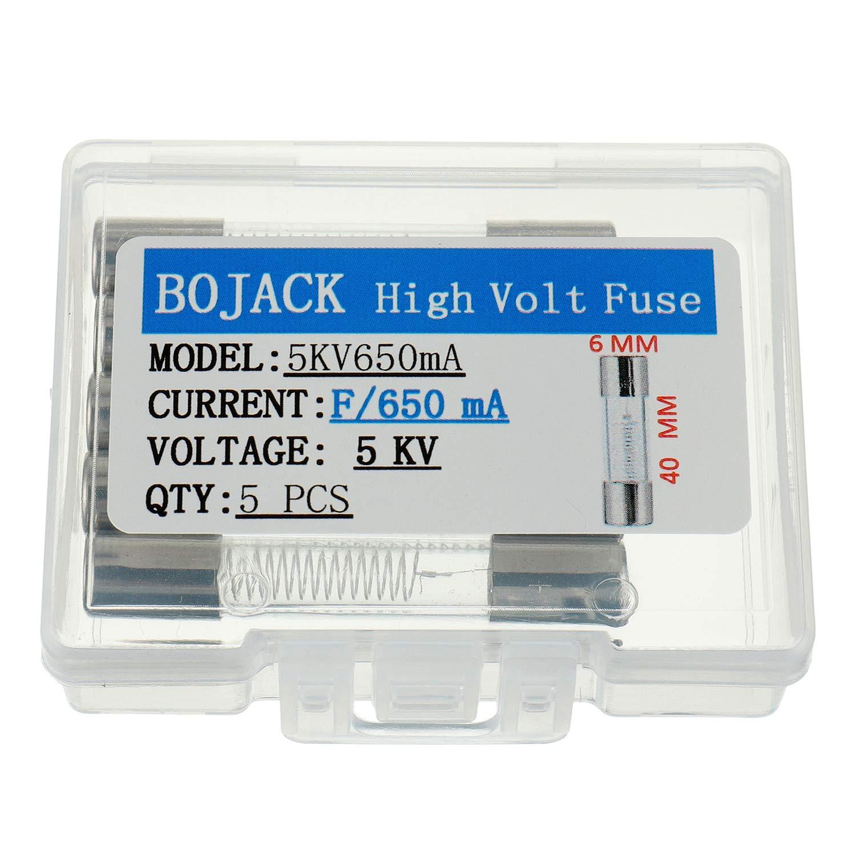 paquete de 5 piezas BOJACK 650 mA 5 KV 6 x 40 mm Fusibles de protecci/ón de horno de microondas de alto voltaje de soplado r/ápido 0.24 x 1.6 pulgadas 0.65 amp 5.000 voltios Fusible de tubo de vidrio