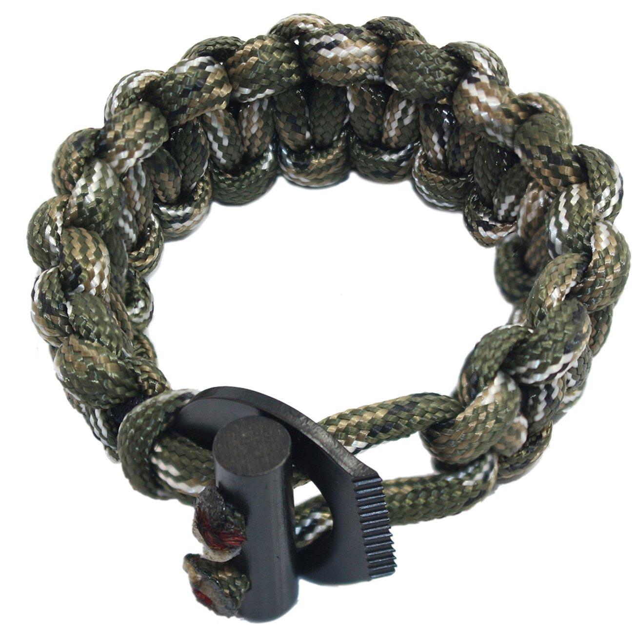 PSKOOK Einstellbare Survival Paracord Bungee Schnur elastisches Seil Armband mit Ferro Rod Scraper Tactical EDC Armband