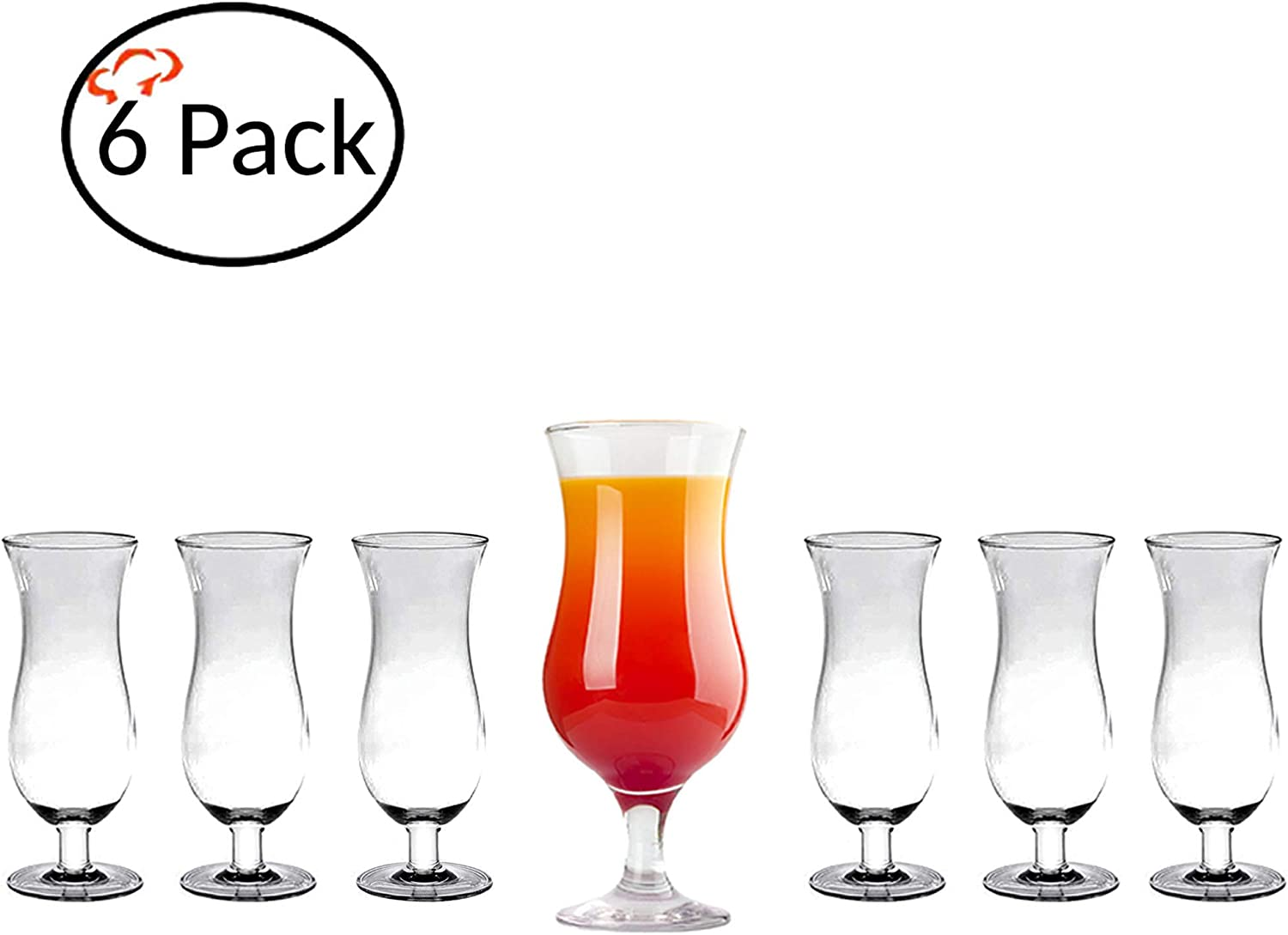 Tiger Chef Polycarbonate Shatter-Proof Reusable Stain Resistant Drinking Glasses Serve Liquor Wine Alcohol Beer Shots Cocktails Margarita Water Heavy Duty Cups Tumblers (6 Pack, Hurricane 16 Oz)