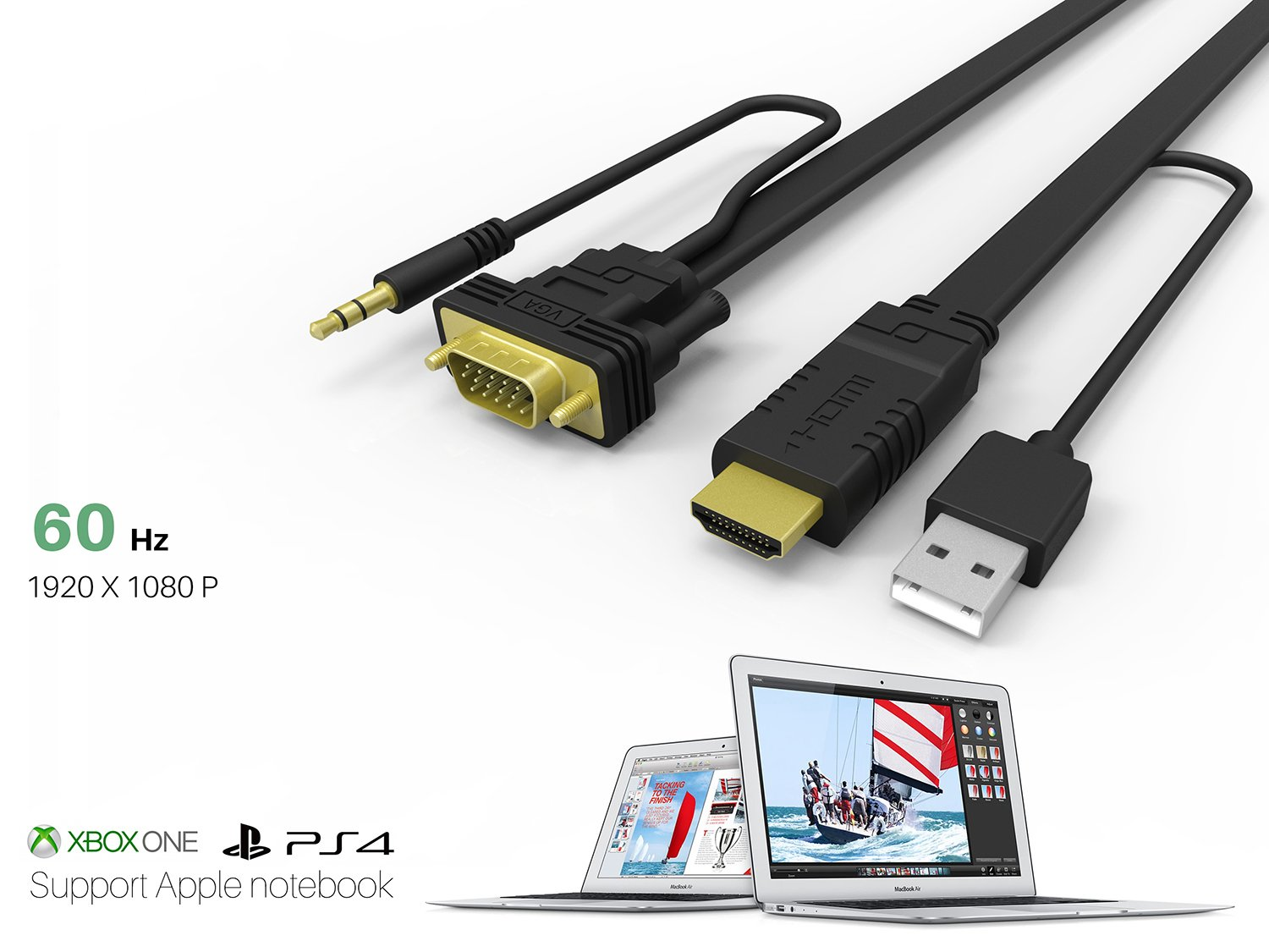 NewBEP HDMI to VGA Cable Adapter with Audio Cord and USB, 1080P HD 6ft/1.8m HDMI Male to VGA Male Converter Cord Support Apple Mackbook Sony PS2 PS3 PS4 Xbox Notebook PC DVD Player Laptop TV by NewBEP (Image #4)