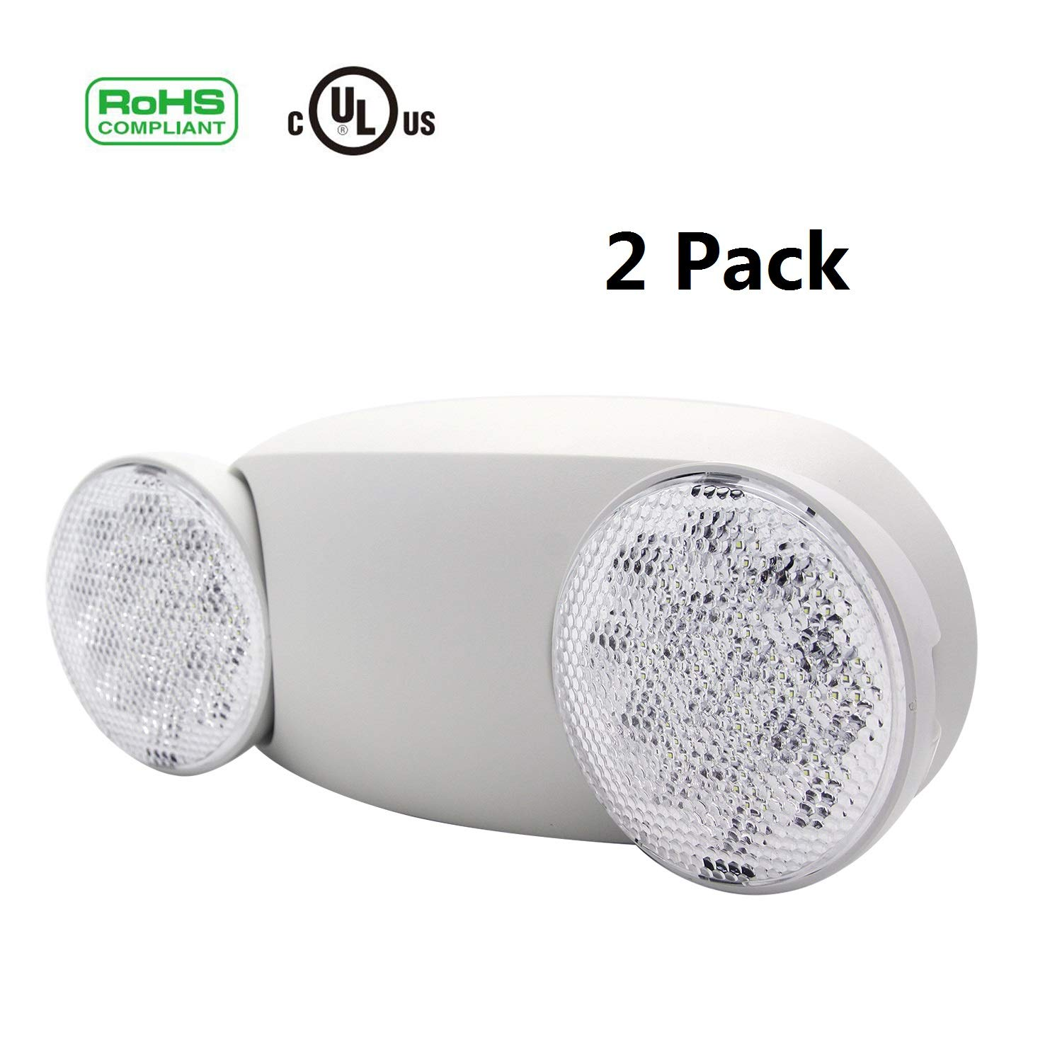 LED Emergency Light Fixture, Two Adustable Round Head, 2 Pack, UL Certified