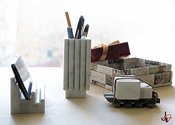 Moderne ensembles de bureau en vrai marbre blanc de carrare