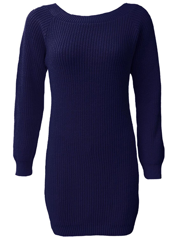 23f1494ecc5736 21FASHION Women Oversized Chunky Knitted Jumper Dress Long Sleeve Ladies  Sweater Top: Amazon.co.uk: Clothing