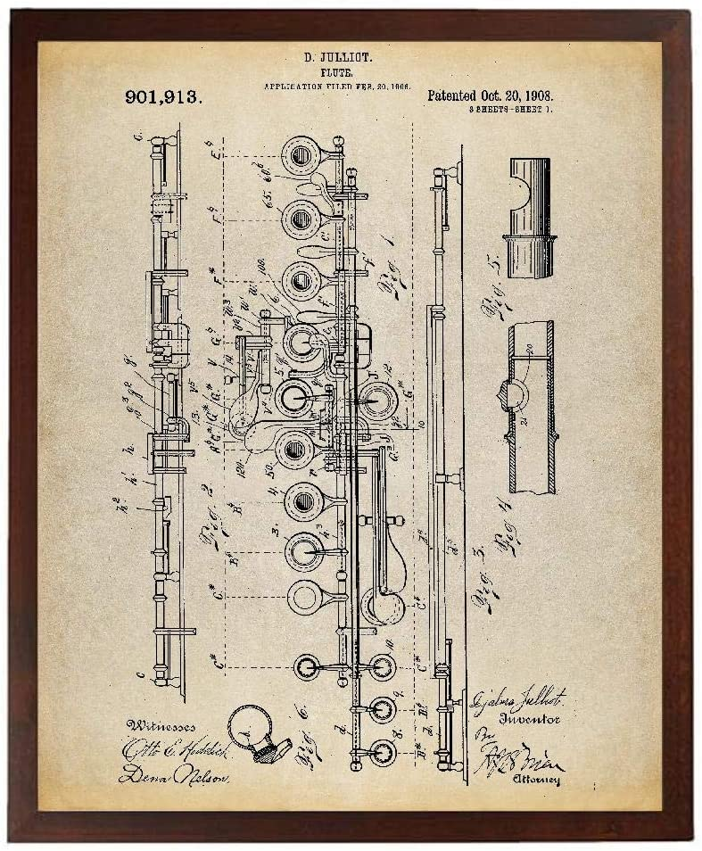Turnip Designs Flute 1908 Patent Poster Art Print Music Room Decor Flute Art Musician Gift Marching Band Band Director Gift TNP117