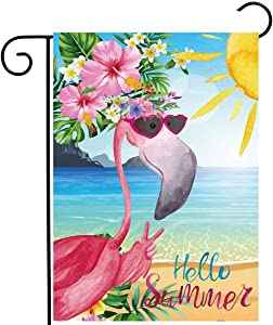 Allenjoy Tropical Flamingo Garden Flag for Spring Outside Pool Lake Vertical Hello Summer Hawaiian Sea Beach Luau Yard Porch Sign Patio Outdoor Decorations 12x18 Inch Double Sided Washable Polyester