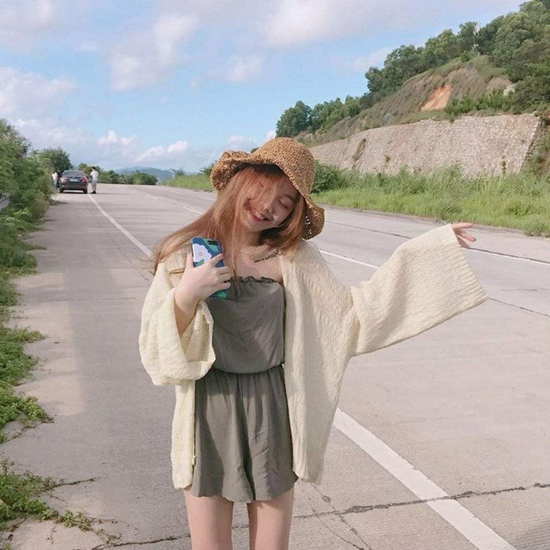 LouiseEvel215 Vintage Chic Wind Style Mujer Cárdigan de Punto Estilo Suelto de Verano Manga Larga Ropa a Juego Todas Las señoras Abrigos de protección Solar