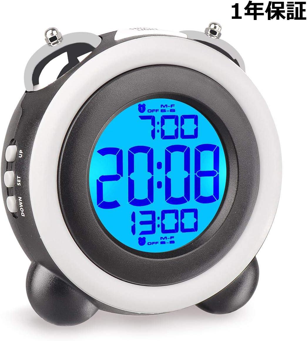 目覚まし時計 大音量 アラーム 2つ ベル デジタル スヌーズ LED バックライト デュアルアラーム 卓上 置き時計