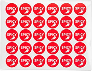 300 Labels - Spicy Stickers, Food Warning Spicy Labels (1.5 inch Round/Red)