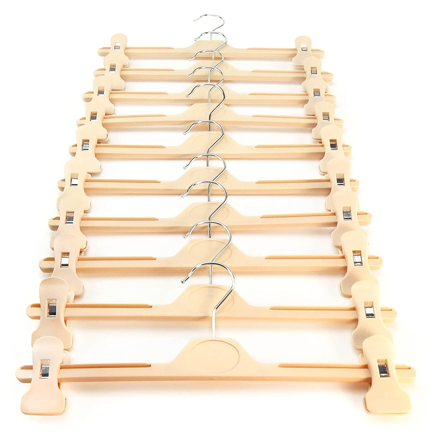 HANGERWORLD 10 Cream 34cm Plastic Notched Clothes Coat Garment Trouser Clip Hangers.