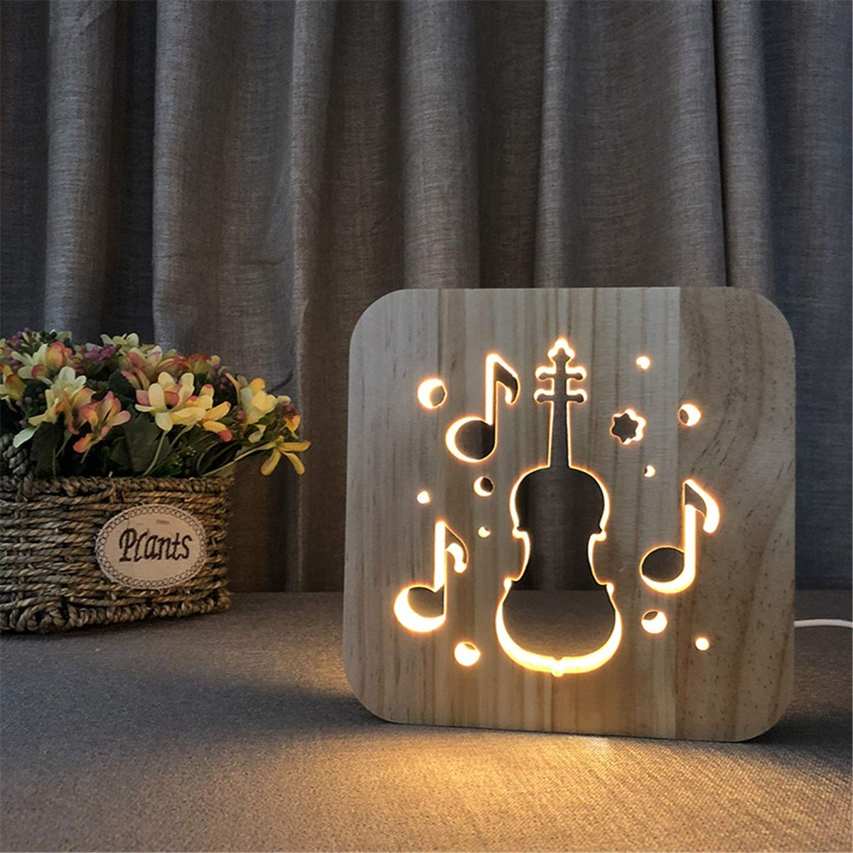 Lovely Nursery USB Powered Violin Wooden 3D Night Light Carving Pattern Table Desk LED Lamp Beside Nightlight Home Decoration Art Sculpture Lights for Children