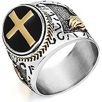 COTTVOTT Men's Religious Holy Cross Prayer Rings Stainless Steel Christian Jewelry Size 8-14 (11.5)