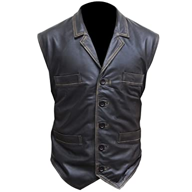 b74303d09247d Hell on Wheels Cullen Bohannan Brown Leather Vest at Amazon Men s ...