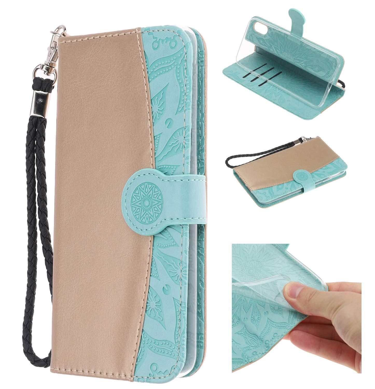 Handy hülle Tasche Leder Flip Case Brieftasche Etui Schutzhülle für Apple iPhone X XS/XR/XS MAX/5G 5S ES/6G 6s/6 Plus/7G 8G /7Plus /8Plus hülle,6 Farben (iPhone X XS(5,8), Grün) 8) Grün) TOGOGO