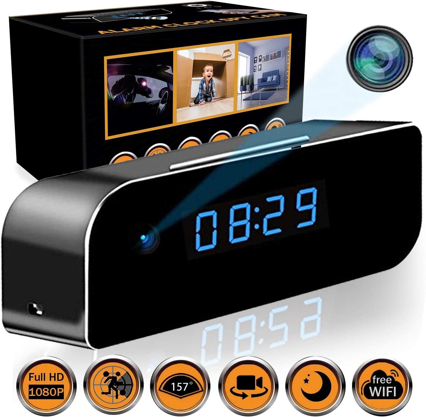 State-of-The-Art Wireless Hidden Camera Clock Motion Detection Alarm Clock Camera Spy Camera Clock with Night Vision HD Recording Camera Clock Clock Spy Camera Hidden Cam Remote