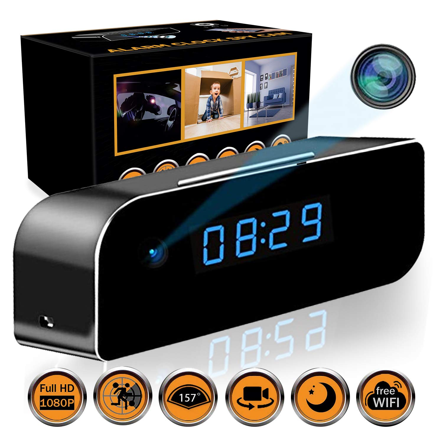State-of-The-Art Wireless Hidden Camera Clock | Motion Detection Alarm Clock Camera | Spy Camera Clock with Night Vision | HD Recording Camera Clock | Clock Spy Camera & Hidden Cam Remote by ICU