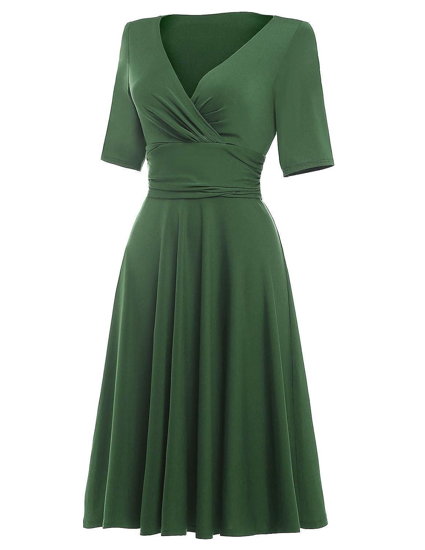 GK Vintage Dress Damen Elegant Sommerkleid Knielang kurzarm ...