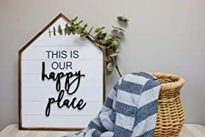"Large This is Our Happy Place Wood Framed Sign, 3D Happy Place Word House Shape Wood Wall Decor, Farmhouse Style Wall Hanging Plaque Home Decor, 20"" W x 26.8"" H"