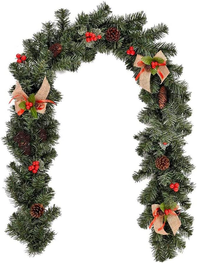 Hpamba Corona Navidad Artificial con Piñas Navideñas Coronas Navideñas con Bayas y Piñas de Pino Guirnalda Navidad Guirnaldas Abeto Escaleras Chimeneas Corona Navideña Guirnalda Navidad con Flores