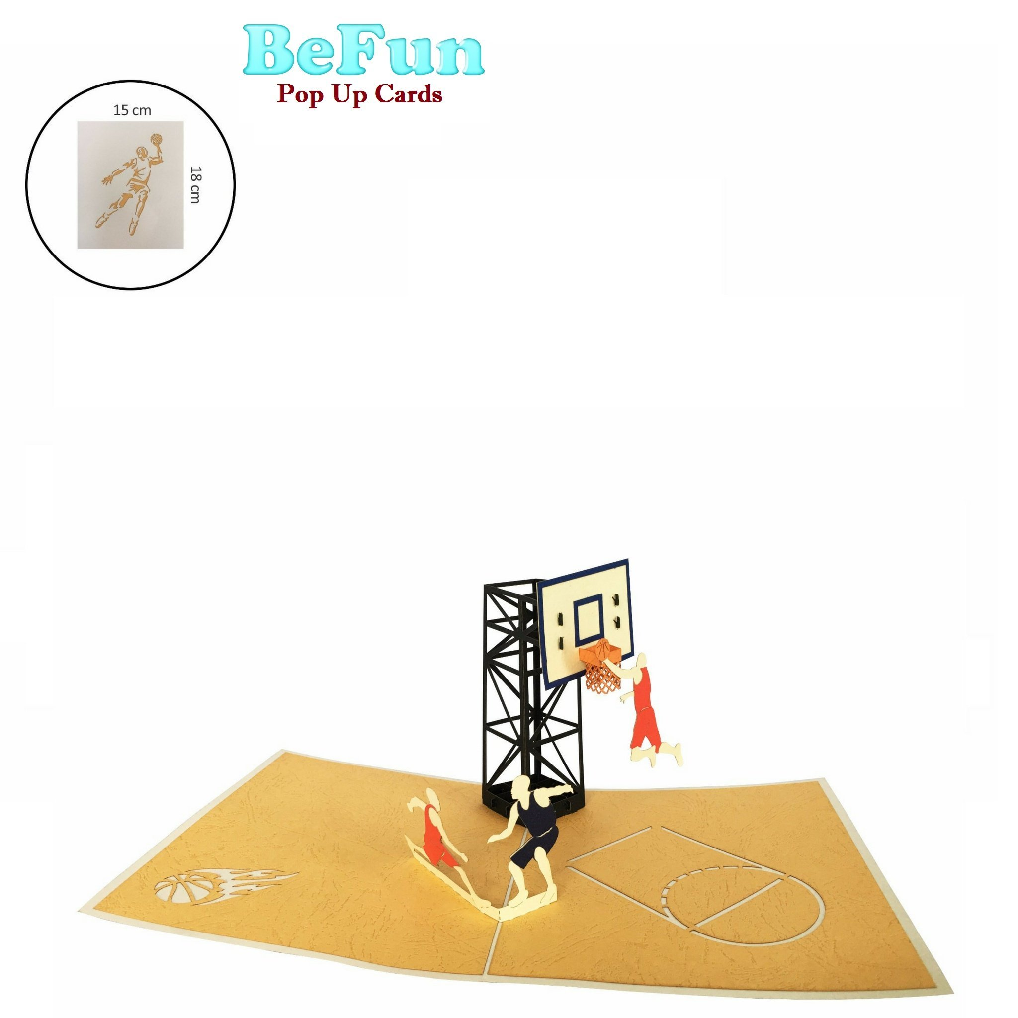 Be Fun Pop Up Greeting Cards for Men on Birthday-Congratulation- The Sports Fans Store for Basketball
