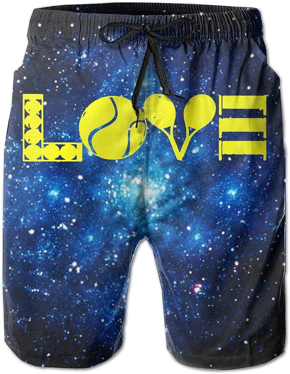 I Love Tennis Mens Board//Beach Shorts Quick Dry Swimming Shorts