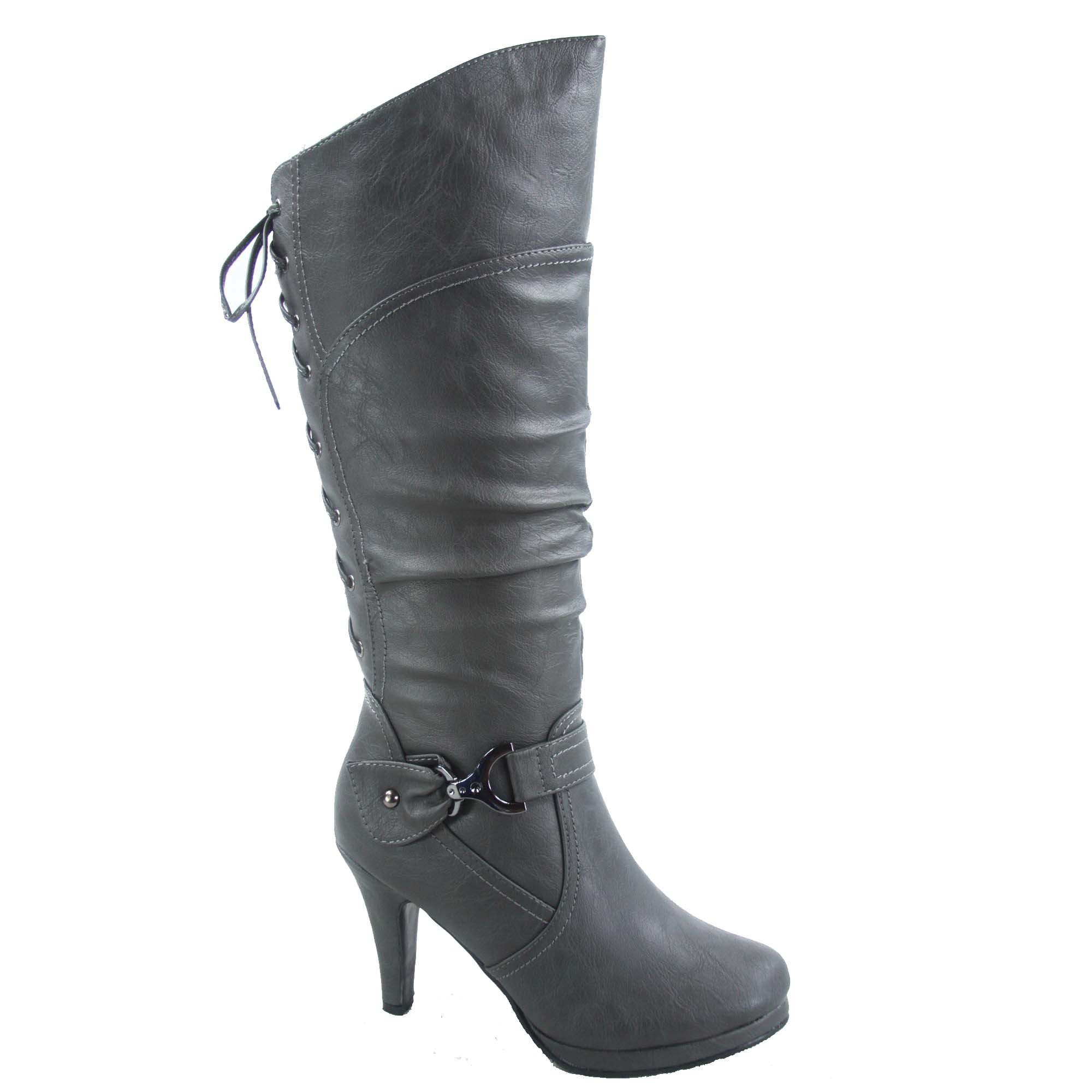 Top Moda Page-65 Women's Sexy Back Lace Up Side Zipper Low Heel Platform Knee High Boots Shoes (8.5, Grey)