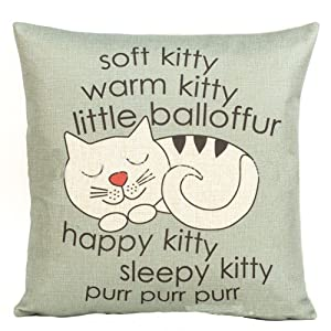 """Decorbox Happy Sleepy Kitty Print Cat Pillow Cushions Cover Throw Pillow Cover For Sofa Office Decorative Pillowslip Gift Ideas Household Pillowcase 18"""" x 18"""""""