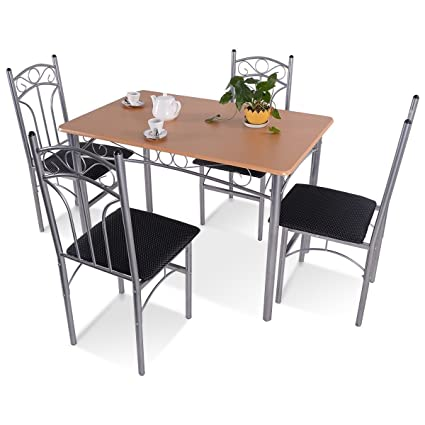MyEasyShopping Chairs Table Dining Set Mid Century Modern Metal Patio  Chrome Top Kitchen Chair And Room