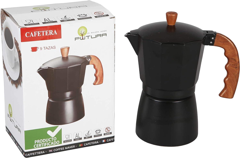 Cafetera italiana clasica aluminio marron/negro con asa imitación madera.9 Tazas | (18 x 12 x 21 cm): Amazon.es: Hogar