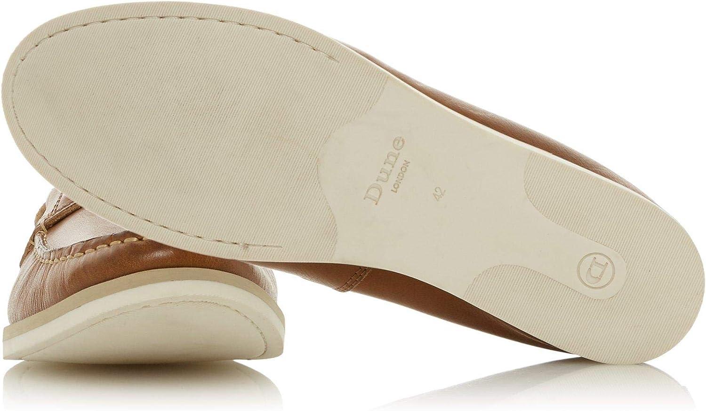 Dune Mens BLAINESS Nubuck Boat Shoe Size UK 10 Tan Flat Heel