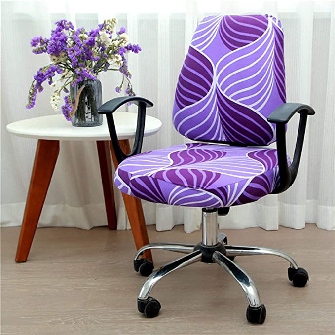 LUCACO Office Chair Cover, Split Protective Seat Covers, Stretch Polyester Universal Desk Task Chair Covers Rotating Chair Slipcovers