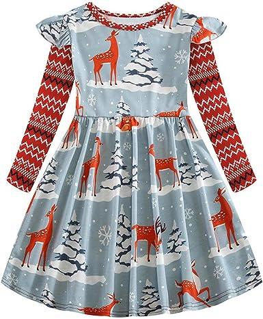 YWLINK Vestido De Navidad NiñA Manga Larga Falda De AlgodóN ImpresióN De Santa Claus Elegante Vestido De Princesa Fiesta Falda Casual 9 Colores para Elegir 2-8 AñOs AñO Nuevo: Amazon.es: Ropa y