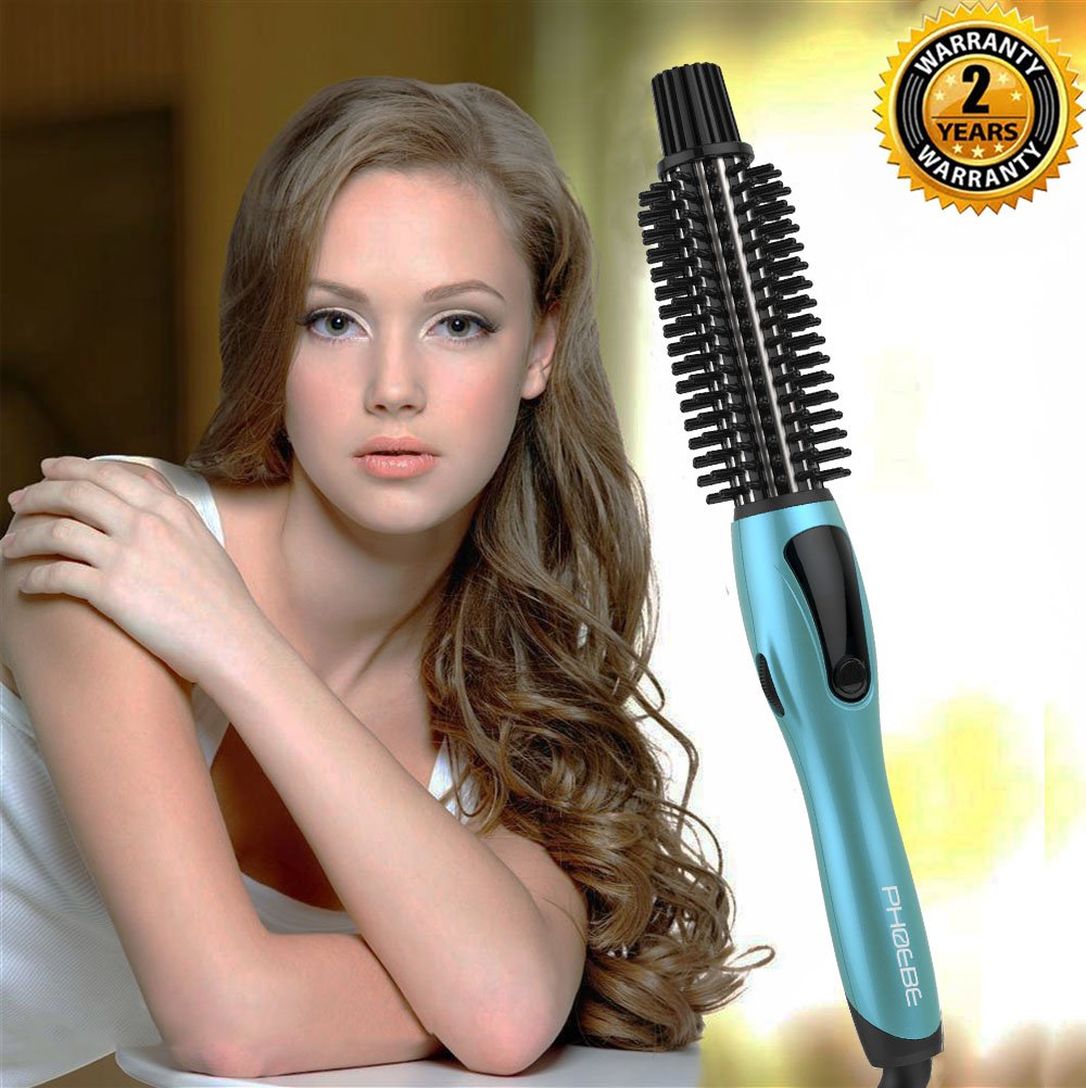 S.R. Curling Iron Brush, Dual Voltage 1 inch Ceramic Tourmaline Heated Styling Brush, Professional Anti-Scald Curling Wands, Hot Curler Brush for Medium/Long Hair(Blue) Ltd.