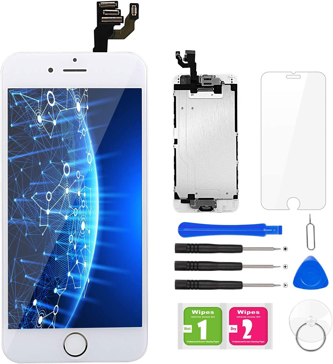 for iPhone 6 Screen Replacement White, BuTure LCD Touch Screen Digitizer Assembly for A1549, A1586, A1589, with Home Button, Front Camera, Ear Speaker and Proximity Sensor