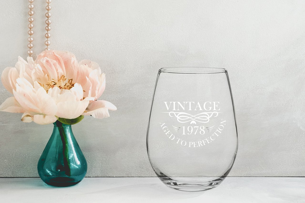 1978 40th Birthday Gifts for Women and Men Wine Glass - Funny Vintage Anniversary Gift Ideas for Mom, Dad, Husband or Wife - 15 oz Glasses for Red or White Wine - Party Decorations for Him or Her by Gelid (Image #6)
