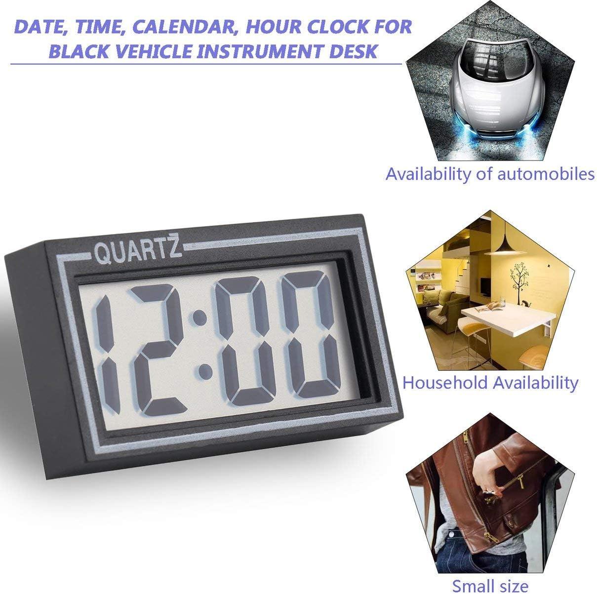Petite taille en plastique noir Tableau LCD num/érique Tableau de bord de voiture Bureau Date Date Calendrier Petite horloge avec fonction de calendrier TS-CD92 couleur: comme le montre limage