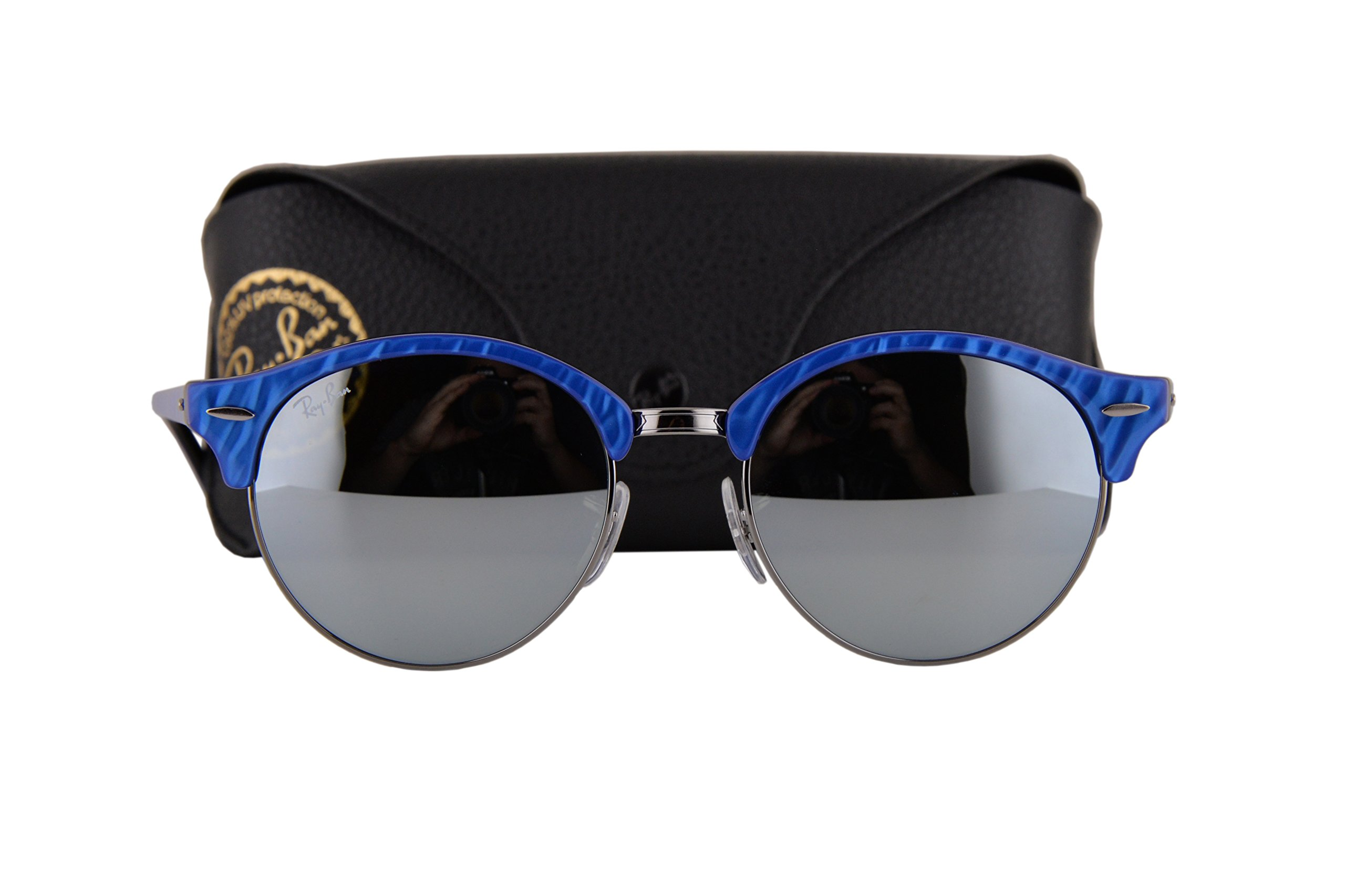 Ray Ban RB4246 Clubround Sunglasses Top Wrinkled Blue On Black w/Green Mirror Silver Lens 98430 RB 4246