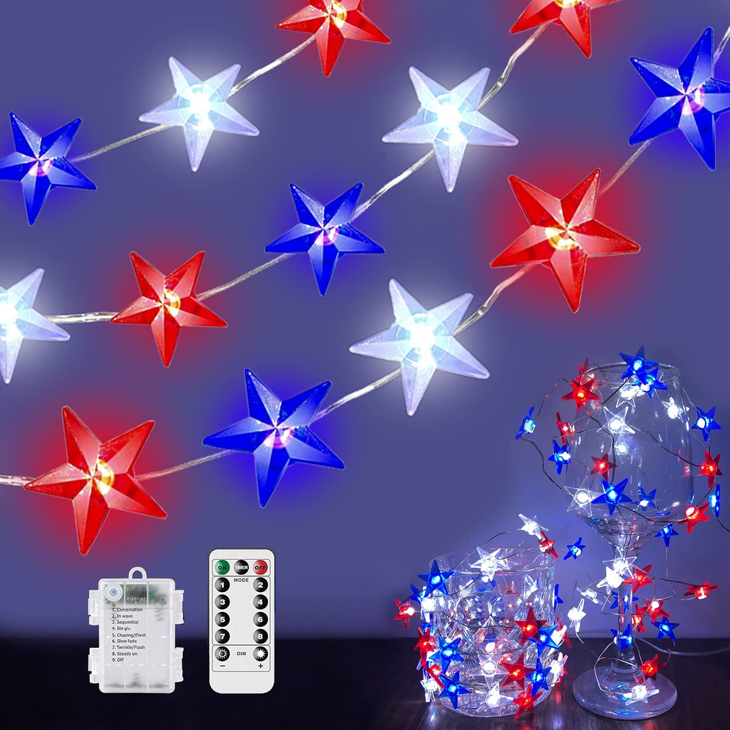 10Ft 40Led Patriotic Decor Star String Lights, 4th of July Red White Blue Star Lights American Flag Decorations Indoor Outdoor Memorial Day Independence Day Party Supplies Battery Operated with Remote