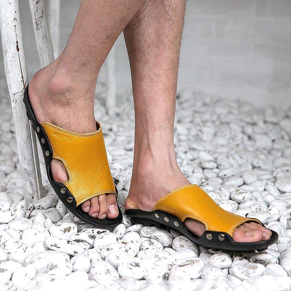 Sharon Sharon Sharon zhou Véritable Cuir Hommes D'été Plusieurs Couleurs Tongs Casual Doux Confortable Non-Slip Plage Tongs Convient pour L'intérieur Et en Plein Air (Color : Yellow, Size : 41 1/3 EU) - B07FXF39DH - Chaussons 87ef98