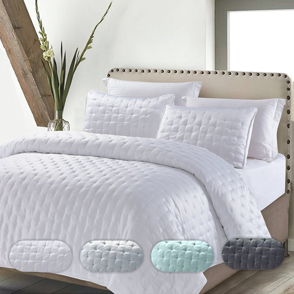 California Design Den Quilt/Coverlet Set Best Quality Solid Luxury Hotel Style Bedspreads All Season Lightweight Bedding, Full/Queen Size, White, 3 Piece