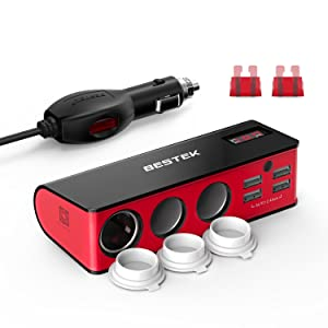 BESTEK 3-Socket Cigarette Lighter Splitter 200W 12V/24V DC Power Adapter with 6A 4-Port Car USB Charger