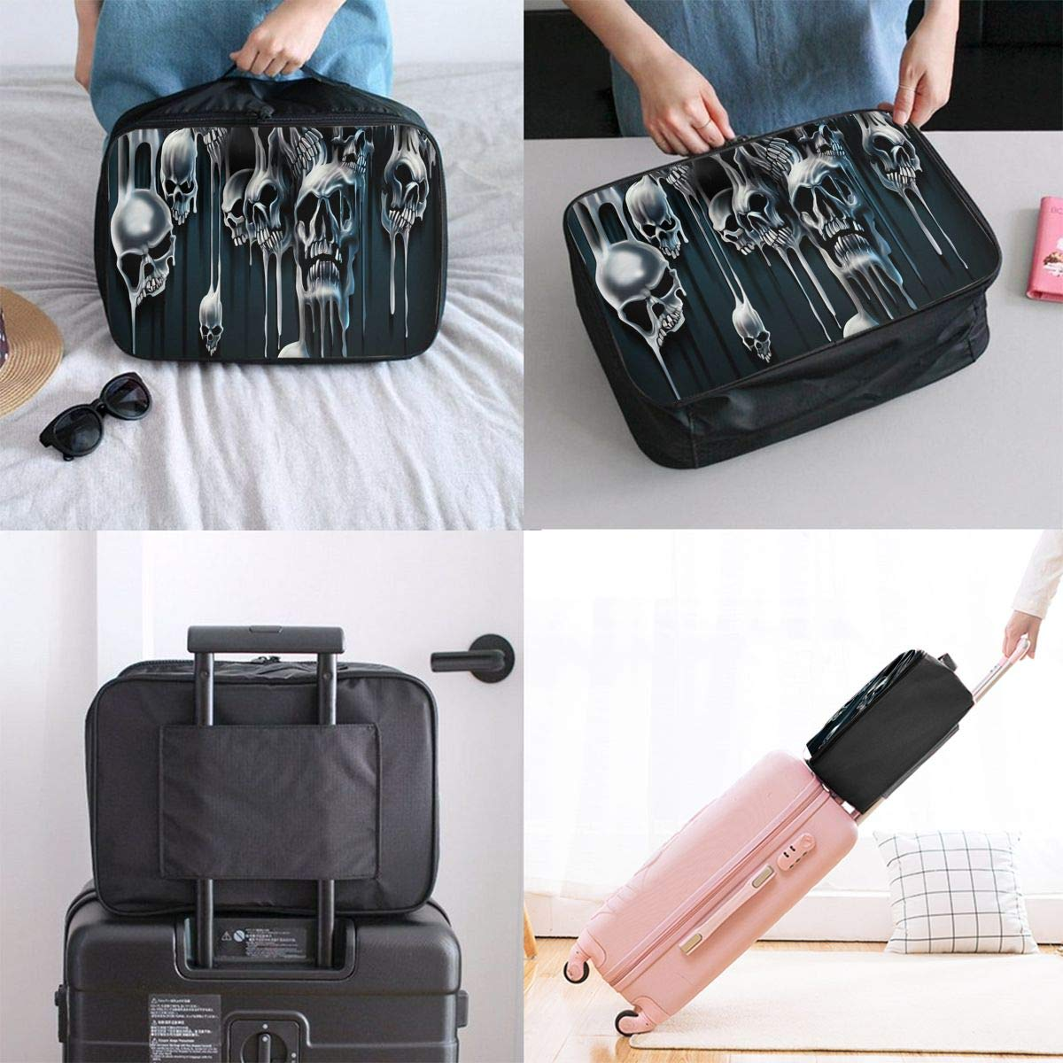 Travel Luggage Duffle Bag Lightweight Portable Handbag Skull Pattern Large Capacity Waterproof Foldable Storage Tote