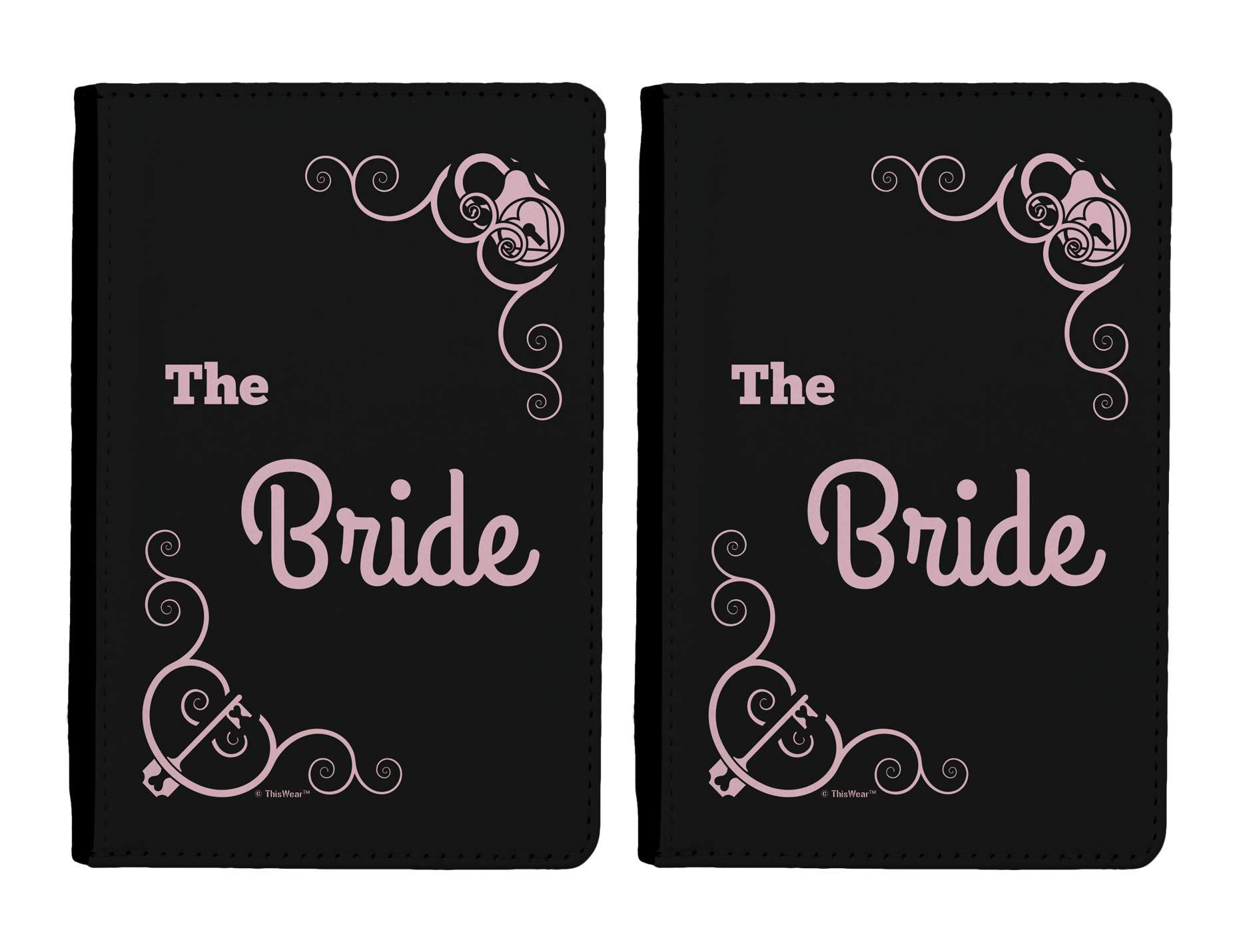 Destination Wedding Gift Bride Passport Holder 2-pack Full Color Passport Covers Wallet Black & Pink