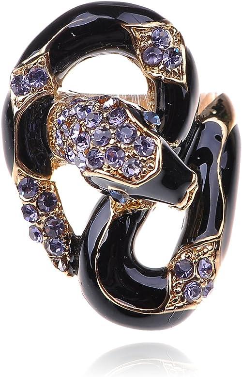 Elegant Black Enamel Body Purple Crystal Rhinestone Serpent Snake Fashion Ring