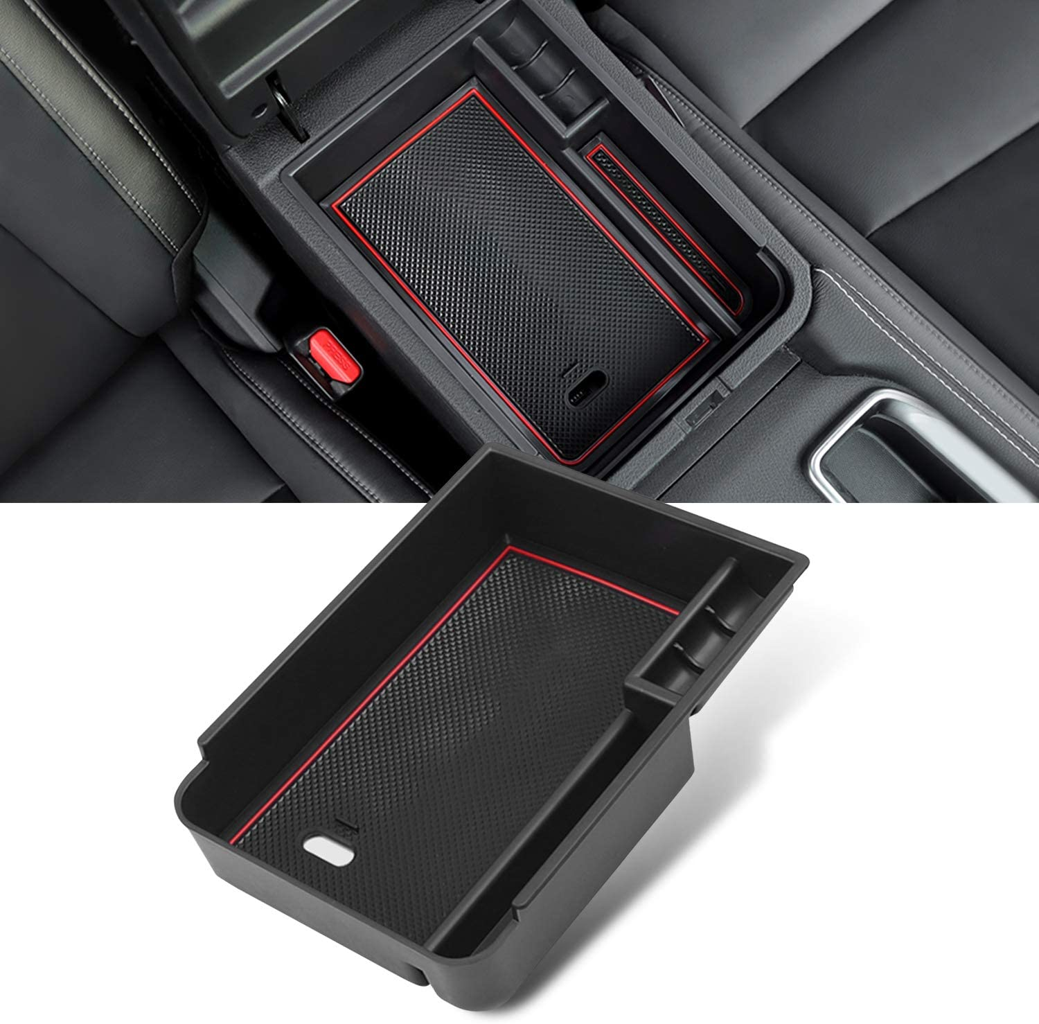 YEE PIN 2020 Sentra Center Console Organizer Tray Sentra Armrest Tray Armrest Box Secondary Storage Insert ABS Materials Tray Compatible with 2020 Sentra